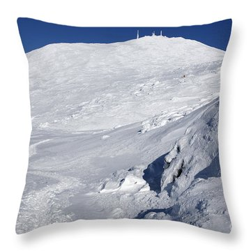 Mount Washington - White Mountain New Hampshire Usa Winter Throw Pillow