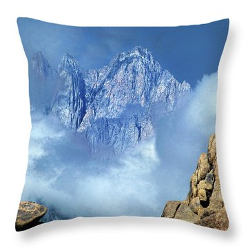 Throw Pillow featuring the photograph Mount Whitney Clearing Storm Eastern Sierras California by Dave Welling