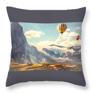 Mountain Air Balloons Throw Pillow