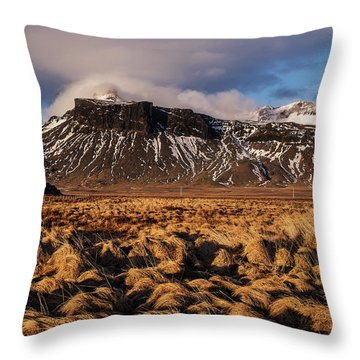 Throw Pillow featuring the photograph Mountain And Land, Iceland by Pradeep Raja Prints