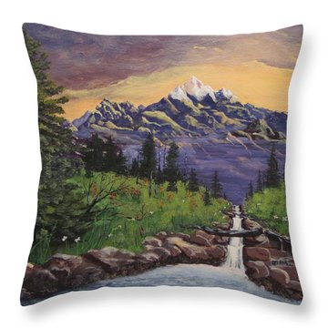 Mountain And Waterfall 2 Throw Pillow