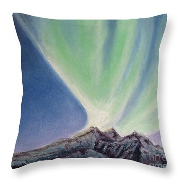 Throw Pillow featuring the painting Mountain Aurora by Stanza Widen