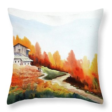 Throw Pillow featuring the painting Mountain Autumn Forest by Samiran Sarkar
