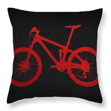 Mountain Bike - Red On Black Throw Pillow