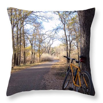 Mountain Bike Trail Throw Pillow