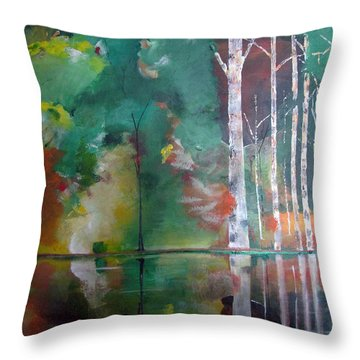 Throw Pillow featuring the painting Mountain Birch by Gary Smith