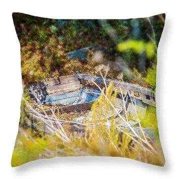 Mountain Boat Throw Pillow