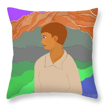 Mountain Boy Throw Pillow by Fred Jinkins
