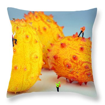 Mountain Climber On Mangosteens Throw Pillow by Paul Ge