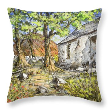 Mountain Cottage Throw Pillow by Marty Garland