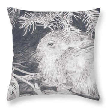 Mountain Cottontail Throw Pillow by Shevin Childers