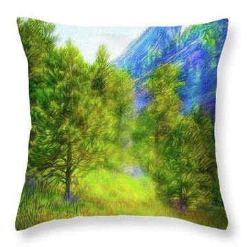 Mountain Field Springtime Throw Pillow