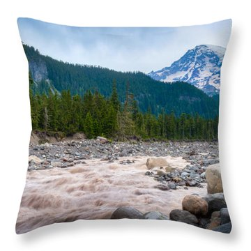 Mountain Glacier River Throw Pillow by Chris McKenna