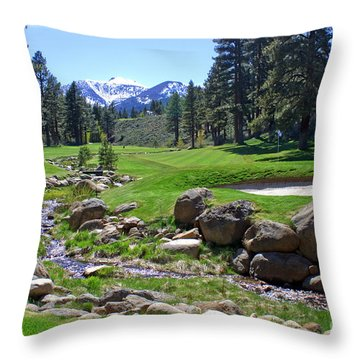 Mountain Golf Course Throw Pillow