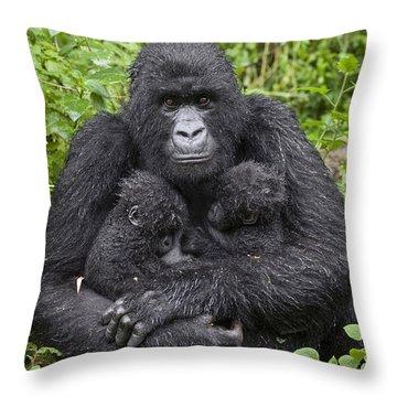 Mountain Gorilla Mother Holding 5 Month Throw Pillow by Suzi Eszterhas