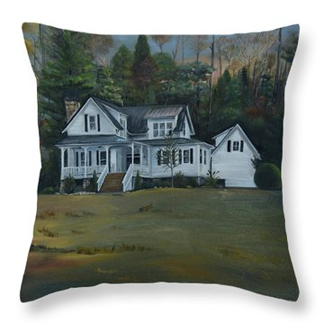 Throw Pillow featuring the painting  Mountain Home At Dusk by Jan Dappen