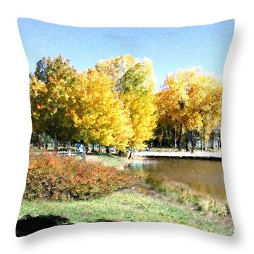 Mountain Lake Autumn Throw Pillow