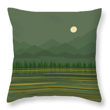 Throw Pillow featuring the digital art Mountain Lake Moon by Val Arie