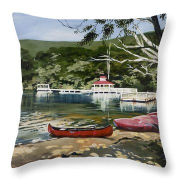 Mountain Lake Summer Throw Pillow