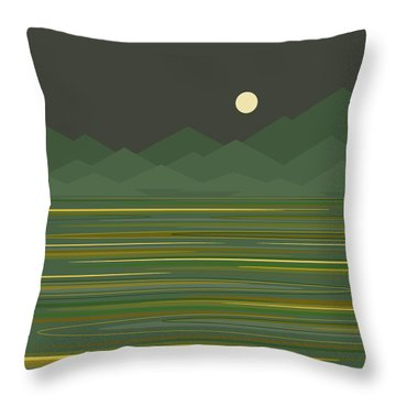 Mountain Lake Throw Pillow by Val Arie