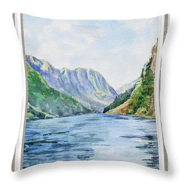 Mountain Lake View Window  Throw Pillow