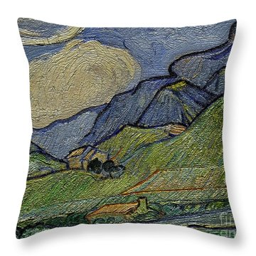 Mountain Landscape Throw Pillow by Pemaro