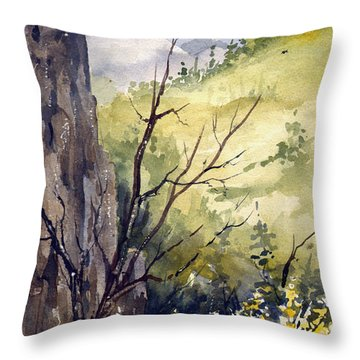 Throw Pillow featuring the painting Mountain Landscape by Sam Sidders