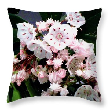Throw Pillow featuring the painting Mountain Laurel  by Donna Dixon