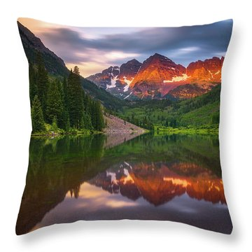 Throw Pillow featuring the photograph Mountain Light Sunrise by Darren White