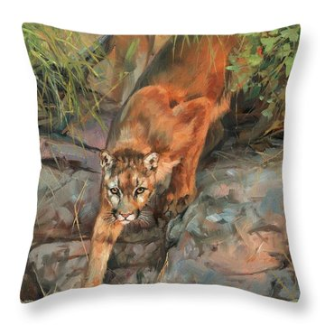 Mountain Lion 2 Throw Pillow by David Stribbling