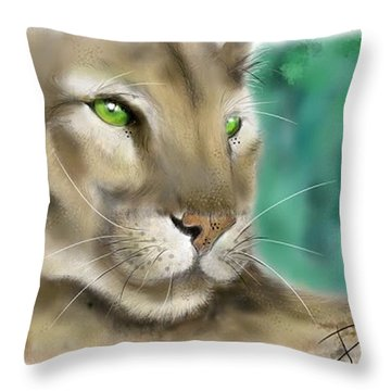 Throw Pillow featuring the digital art Mountain Lion by Darren Cannell