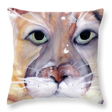 Throw Pillow featuring the painting Mountain Lion by Dawn Derman