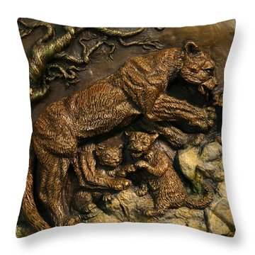 Throw Pillow featuring the sculpture Mountain Lion Mother With Cubs by Dawn Senior-Trask