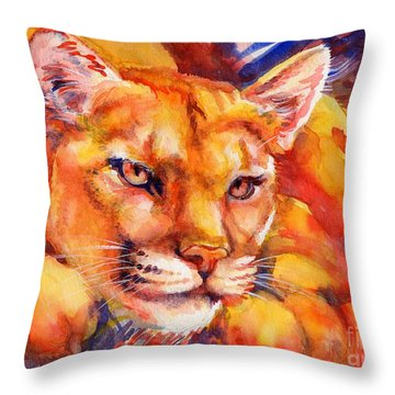 Mountain Lion Red-yellow-blue Throw Pillow by Summer Celeste