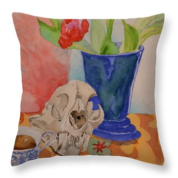 Throw Pillow featuring the painting Mountain Lion Skull Tea And Tulips by Beverley Harper Tinsley