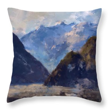 Throw Pillow featuring the painting Mountain Majesty by Mark Taylor