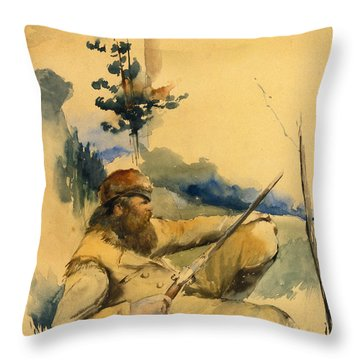 Throw Pillow featuring the drawing Mountain Man by Charles Schreyvogel
