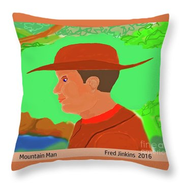 Mountain Man Throw Pillow by Fred Jinkins