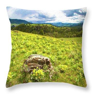Mountain Meadow Impressionist Digital Art Throw Pillow