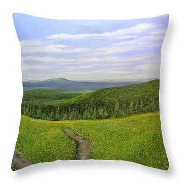 Throw Pillow featuring the painting Mountain Meadow by Ken Ahlering