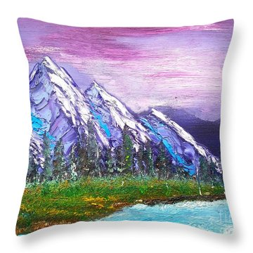 Mountain Meadow Landscape Scene Throw Pillow