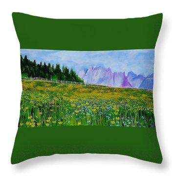 Mountain Meadow Wildflowers Throw Pillow
