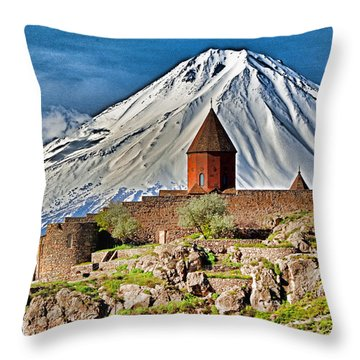 Throw Pillow featuring the photograph Mountain Monastery by Dennis Cox WorldViews