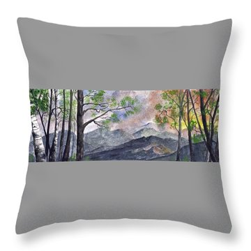 Throw Pillow featuring the digital art Mountain Morning by Terry Cork