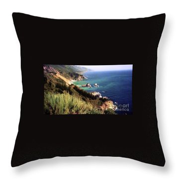 Mountain On Calif Pacific Ocean Throw Pillow by Ted Pollard