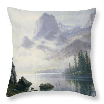 Mountain Out Of The Mist Throw Pillow by Albert Bierstadt