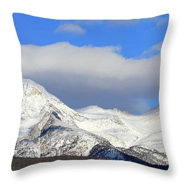 Throw Pillow featuring the photograph Mountain Peaks - Panorama by Shane Bechler