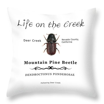 Mountain Pine Beetle Color Throw Pillow