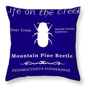 Mountain Pine Beetle White On Black Throw Pillow