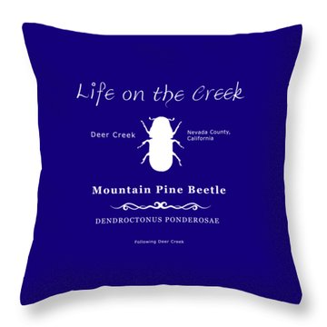 Mountain Pine Beetle White On Black Throw Pillow